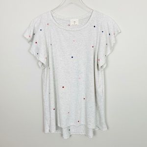 ANTHROPOLOGIE Flutter Sleeve Tee M Embroidered Dot